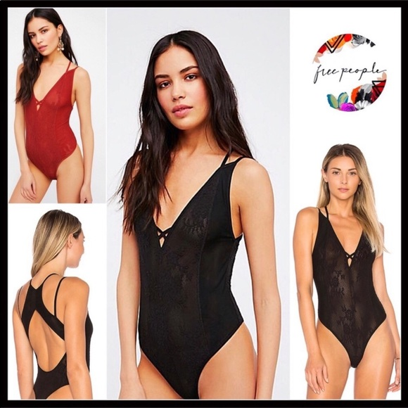 FREE PEOPLE BLACK V-NECK BOHO FESTIVAL BODYSUIT db205569b